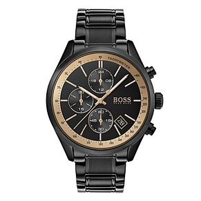 Hugo Boss Grand Prix Men's Black Ion Plated Bracelet Watch - Product number 4168437