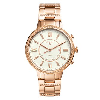 Fossil Q Virginia Ladies' Rose Gold Plated Hybrid Smartwatch - Product number 4170296