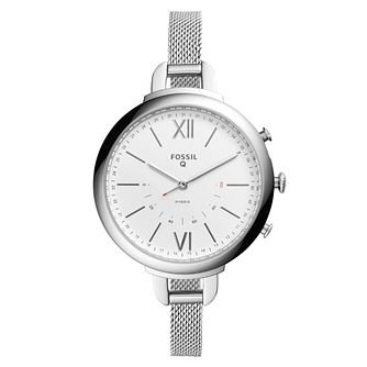 Fossil Q Ladies' Silver Mesh Strap Hybrid Smartwatch - Product number 4170563