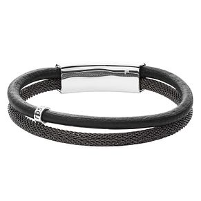 Fossil Vintage Casual Men's Grey Leather Double Bracelet - Product number 4170644