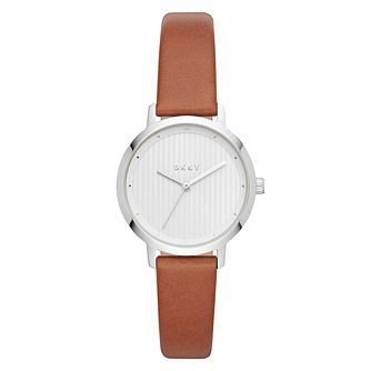 DKNY Modernist Ladies' Brown Leather Strap Watch - Product number 4171640