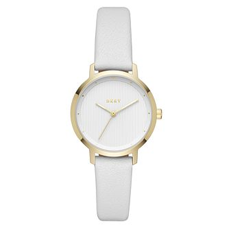 DKNY Modernist Ladies' Gold-Tone & White Leather Strap Watch - Product number 4171659