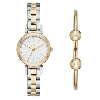 DKNY Ellington Ladies' Two Tone Steel Watch & Bangle Set - Product number 4171667