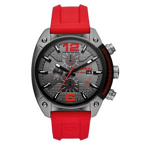 Diesel Overflow Men's Gunmetal & Red Silicone Strap Watch - Product number 4171756
