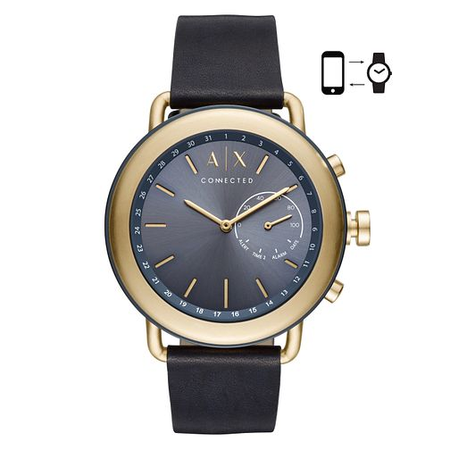 Armani Exchange Men's Leather Strap Hybrid Smartwatch - Product number 4172876