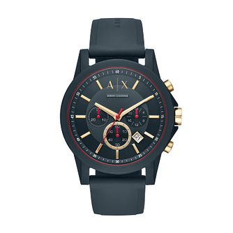 Armani Exchange Outer Banks Men's Blue Silicone Strap Watch - Product number 4172884