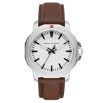 Armani Exchange Ryder Men's Brown Leather Strap Watch - Product number 4173406