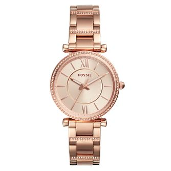 Fossil Carlie Ladies' Rose Gold Tone Bracelet Watch - Product number 4173473