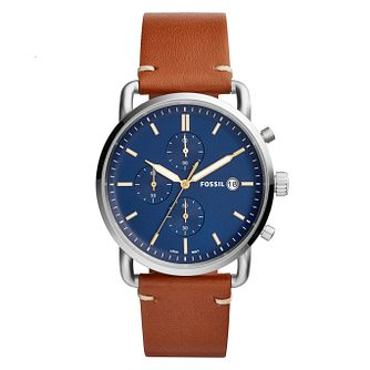 Fossil Commuter Men's Brown Leather Strap Watch - Product number 4173619