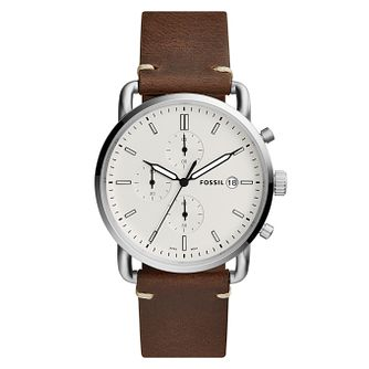 Fossil Commuter Men's Brown Leather Strap Watch - Product number 4173635