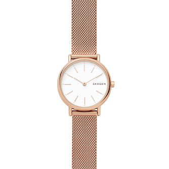Skagen Signatur Slim Ladies' Rose Gold Tone Steel Mesh Watch - Product number 4173872