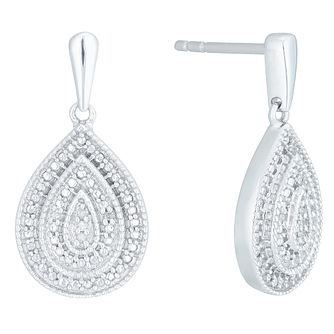 Sterling Silver Diamond Set Pear Shaped Drop Earrings - Product number 4174674