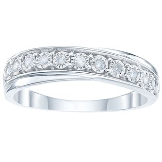 9ct White Gold 0.10 Carat Diamond Set Eternity Ring - Product number 4175182