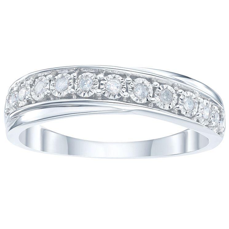 9ct White Gold 0 10 Carat Diamond Set Eternity Ring