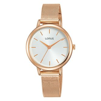 Lorus Ladies' Rose Gold Plated Mesh Bracelet Watch - Product number 4177487