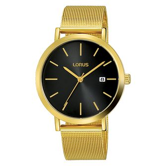 Lorus Men's Black Dial Gold Plated Mesh Bracelet Watch - Product number 4177533