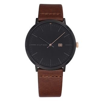 Tommy Hilfiger Men's Brown Leather Strap Watch - Product number 4178157