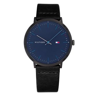 Tommy Hilfiger Men's Black Leather Strap Watch - Product number 4178165