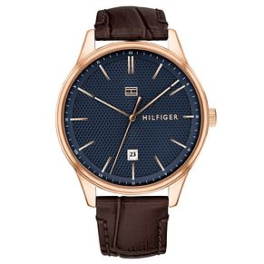 Tommy Hilfiger Men's Brown Leather Strap Watch - Product number 4178289