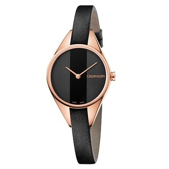 Calvin Klein Rebel Ladies' Black Leather Strap Watch - Product number 4178637