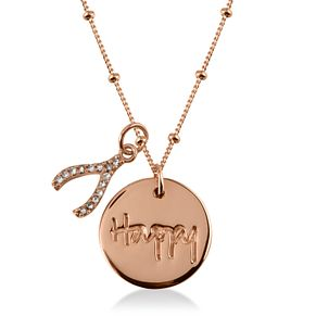 Radley London Rose Gold Plated Happy Disc & Wishbone Pendant - Product number 4179919