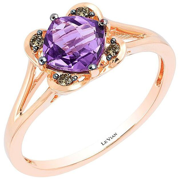 14ct Strawberry Gold Amethyst & Diamond Ring - Product number 4196236