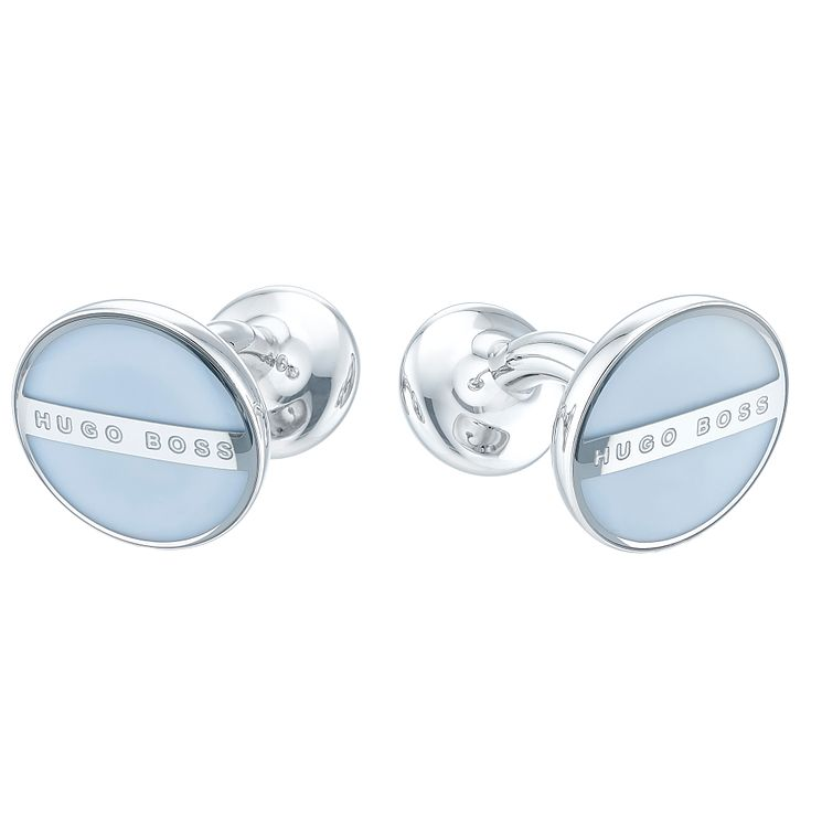 Hugo Boss Stainless Steel Blue Enamel Cufflinks - Product number 4198832