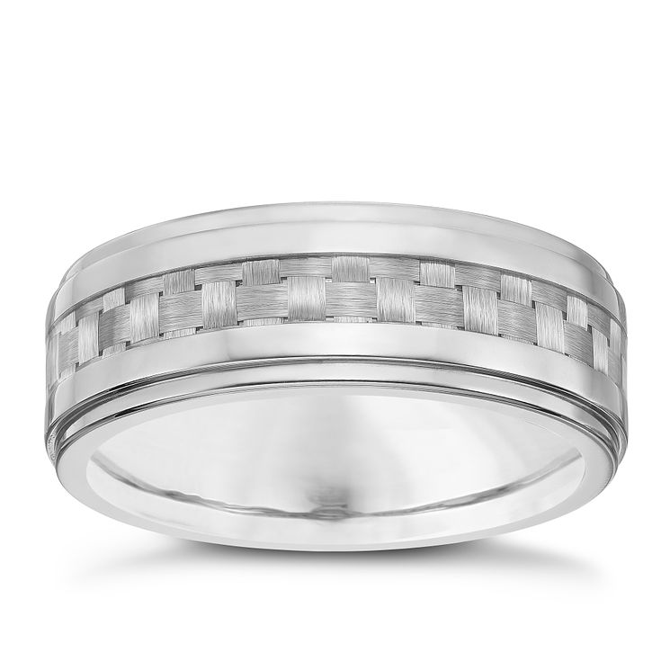 Men's Titanium Grey Carbon Fibre Ring - Product number 4222202