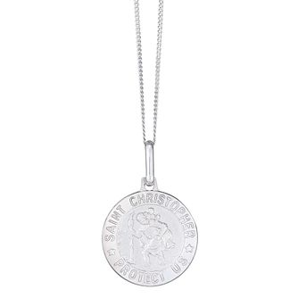 Mens jewellery ernest jones st christopher mens 9ct 18 white gold pendant product number 4222601 aloadofball Images