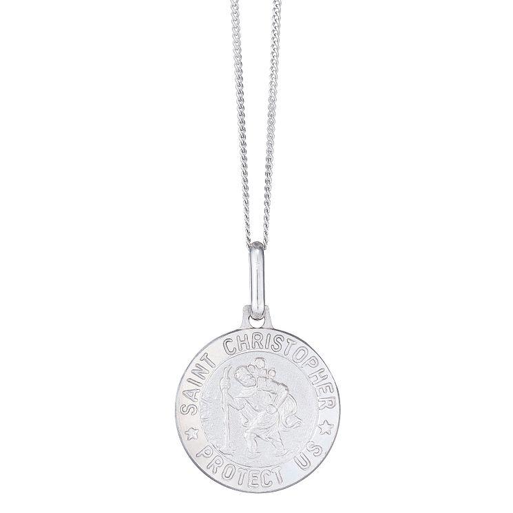 "St Christopher Men's 9ct 18"" White Gold Pendant - Product number 4222601"