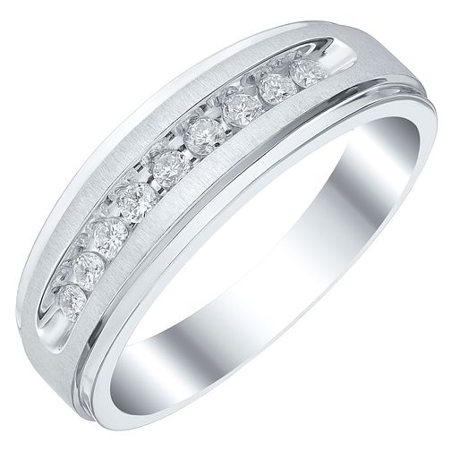 Men's 9ct White Gold 0.25ct 7mm Diamond Ring - Product number 4222695
