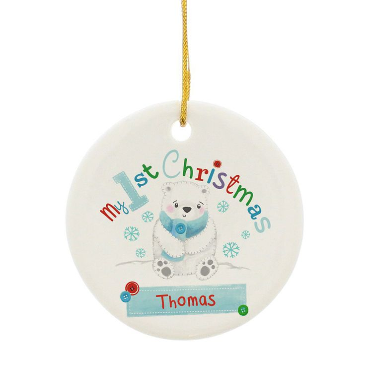 Personalised Polar Bear My 1st Christmas Ceramic Decoration - Product number 4230019