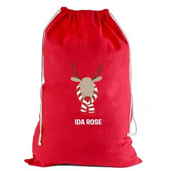 Personalised Retro Reindeer Cotton Sack - Product number 4230035