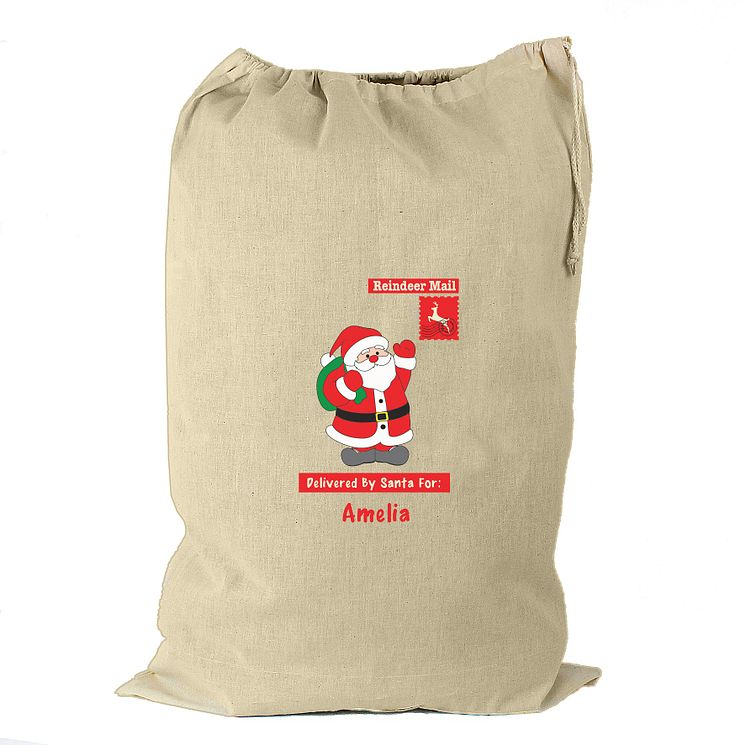 Personalised Father Christmas Cream Cotton Sack - Product number 4230140