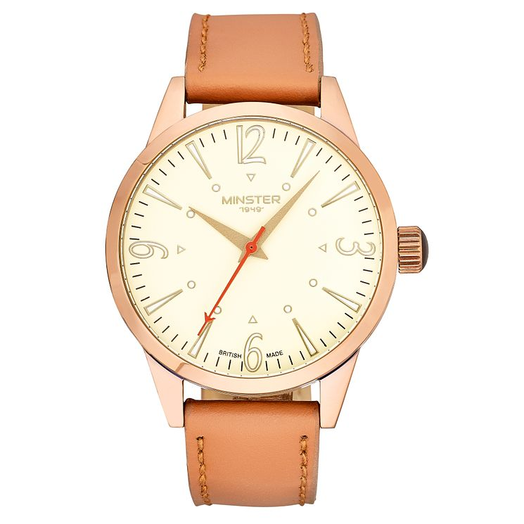 Minster Crofton Men's Rose Gold-plated Round Strap Watch - Product number 4230442