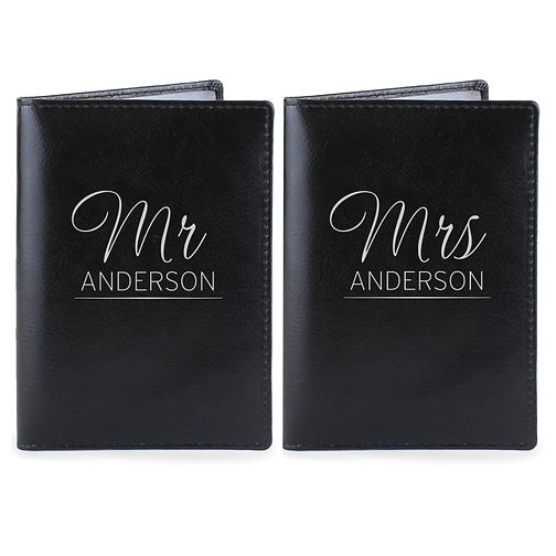 Personalised Mr & Mrs Leather Passport Holders - Product number 4232283
