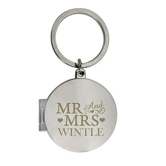 Engraved Mr and Mrs Photo Keyring - Product number 4232399
