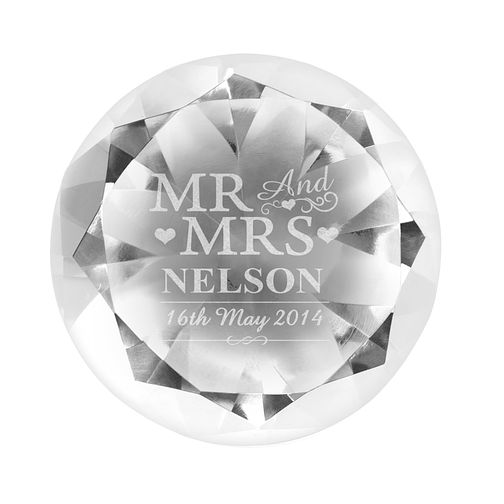 Engraved Mr & Mrs Diamond Shaped Paperweight - Product number 4232402