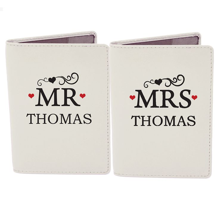 Personalised Mr & Mrs Cream Leather Passport Holders - Product number 4232453