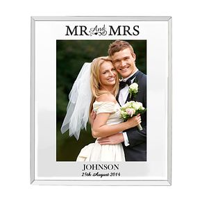 Personalised Mirrored Mr & Mrs Glass Frame 5x7 - Product number 4232569