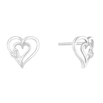 9ct White Gold Diamond Set Heart Shaped Stud Earrings - Product number 4233506