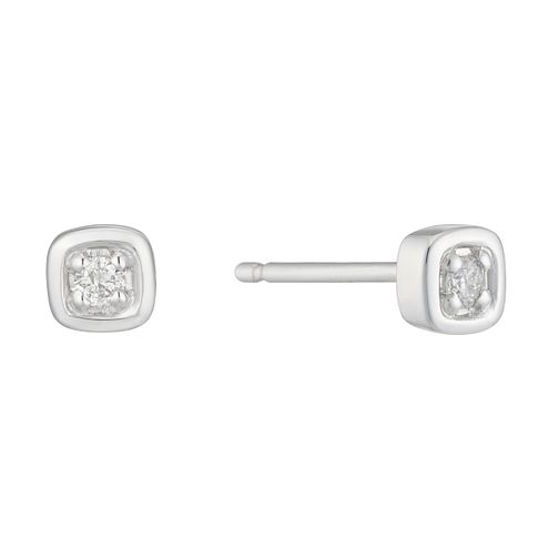 9ct White Gold Diamond Set Square Stud Earrings - Product number 4233522