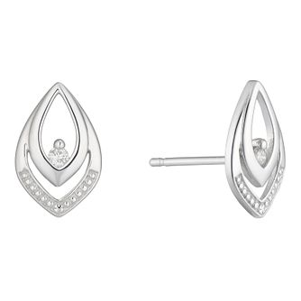 9ct White Gold Diamond Set Marquise Shape Stud Earrings - Product number 4233530