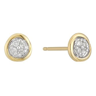 9ct Yellow & White Gold Diamond Set Round Earrings - Product number 4233549
