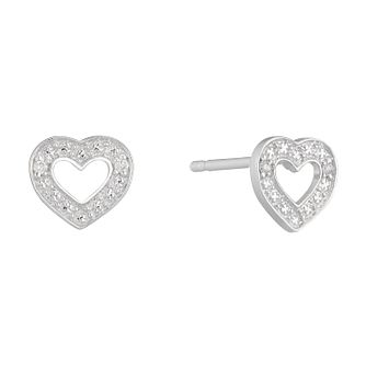 9ct White Gold Diamond Set Heart Shaped Stud Earrings - Product number 4233557