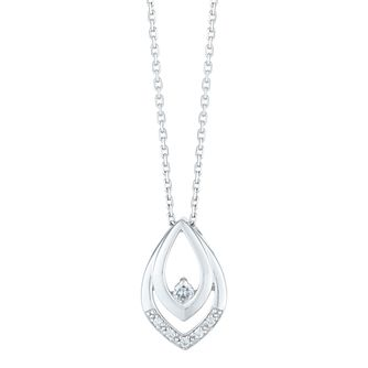 9ct White Gold Diamond Set Marquise Shape Pendant - Product number 4233662