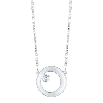 9ct White Gold Diamond Set Circle Pendant - Product number 4233689