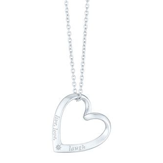 Silver Rhodium Diamond Set Live Love Laugh Necklet - Product number 4233719
