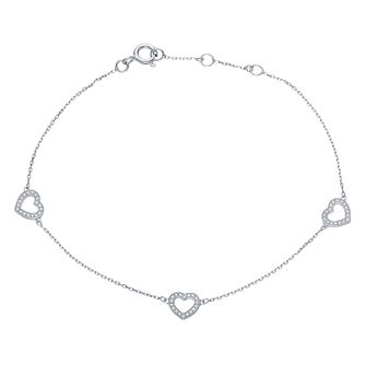 9ct White Gold Diamond Set Heart Design Bracelet - Product number 4233735