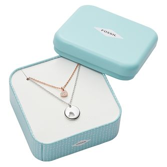 Fossil Ladies' Two Colour Silver Necklace Gift Set - Product number 4237684